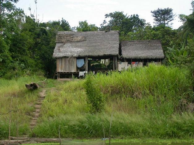 Hütte an einem Zufluss des Amazonas in Peru