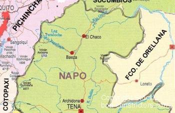 Karte von Rio Napo Ecuador